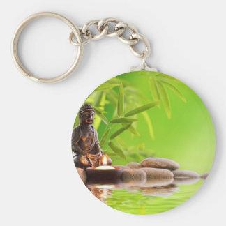 buddha zen serenity garden basic round button key ring