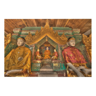 Buddhas In A Temple Wood Wall Art