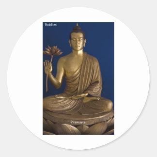"Buddhism ""Namaste"" Gifts Tees Mugs Cards Etc Round Stickers"