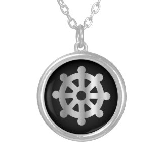 buddhism wheel of dharma.jpg silver plated necklace