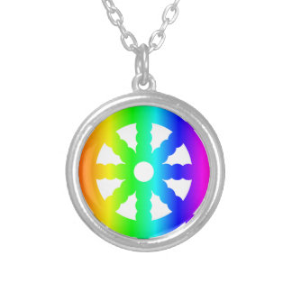 Buddhism (Wheel Of Dharma) Symbol Silver Plated Necklace