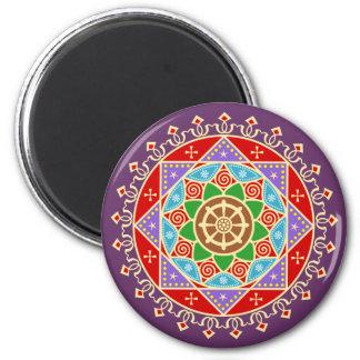 Buddhist Dharma Wheel Mandala 6 Cm Round Magnet