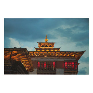 Buddhist Dzong Roof Wood Print