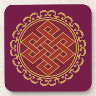 Buddhist Endless or Eternal Knot Pattern Beverage Coasters