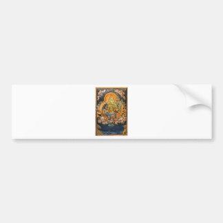 BUDDHIST GODDESS GREEN TARA METALLIC INLAY CAR BUMPER STICKER