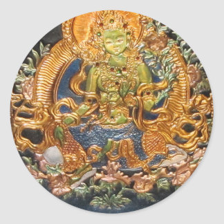 BUDDHIST GODDESS GREEN TARA METALLIC INLAY CLASSIC ROUND STICKER