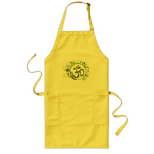 Buddhist Green Floral Om Aprons