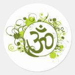 Buddhist Green Floral Om Classic Round Sticker