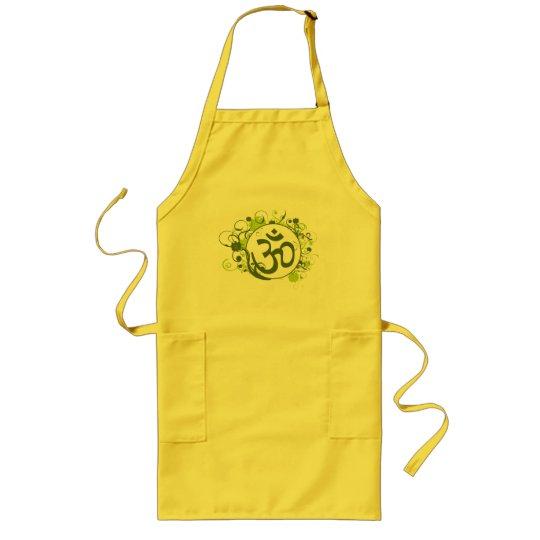 Buddhist Green Floral Om Long Apron