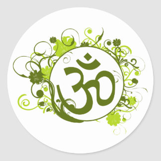 Buddhist Green Floral Om Round Sticker