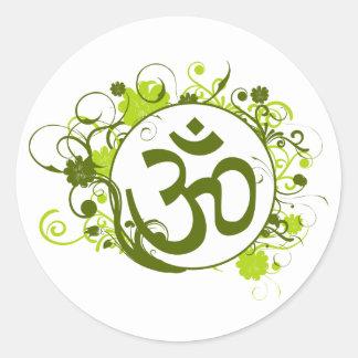 Buddhist Green Floral Om Round Stickers