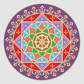 Buddhist Mandala Pattern with Dharma Wheel Round Sticker