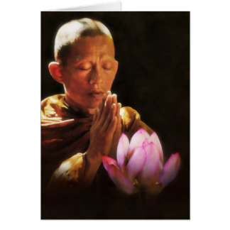 Buddhist Monk in Prayer and Lotus Greeting Card