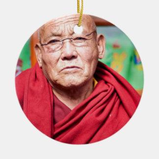 Buddhist Monk in Red Robe Ceramic Ornament