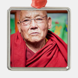 Buddhist Monk in Red Robe Metal Ornament