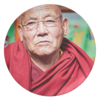 Buddhist Monk in Red Robe Plate