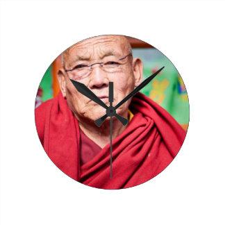 Buddhist Monk in Red Robe Round Clock