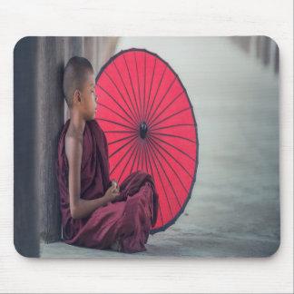 Buddhist Monk Red Umbrella Zen Mouse Pad