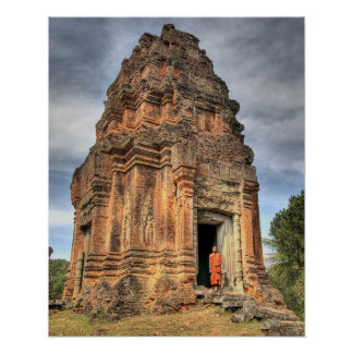 Buddhist monk standing in doorway of temple poster