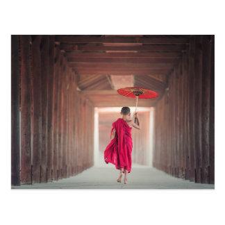 Buddhist Monk with Red Umbrella Postcard