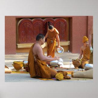 Buddhist Monks Clean Alms Bowls Print