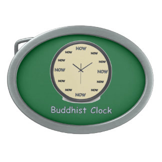 Buddhist Now Clock Oval Belt Buckle
