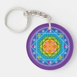 Buddhist Om, Dharma Wheel & Yin Yang Mandala Key Ring