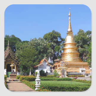 Buddhist pagoda and temple gardens square sticker