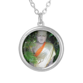 Buddhist sculpture in garden Cambodia Silver Plated Necklace