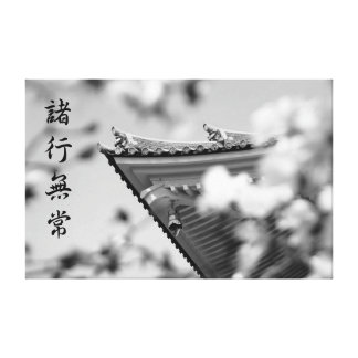 Buddhist Temple Black and White Roof Tile Details Canvas Print