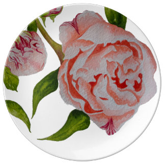Budding Peonies Decorative Porcelain Plate