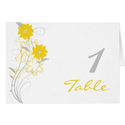 Budding Romance in Yellow Table Number Cards