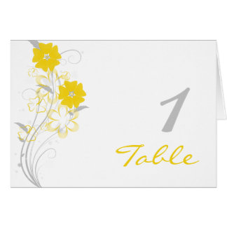 Budding Romance in Yellow Table Number Greeting Card