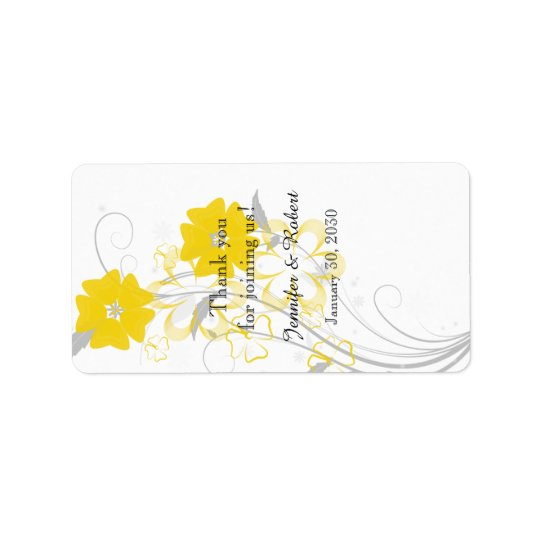 Budding Romance Yellow Wedding Lip Balm Label Address Label