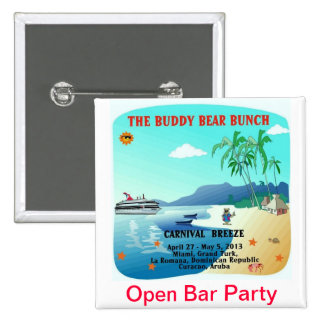 Buddy Bears Open Bar Party 15 Cm Square Badge