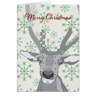 Buddy Elk Green Snowflakes Christmas Card