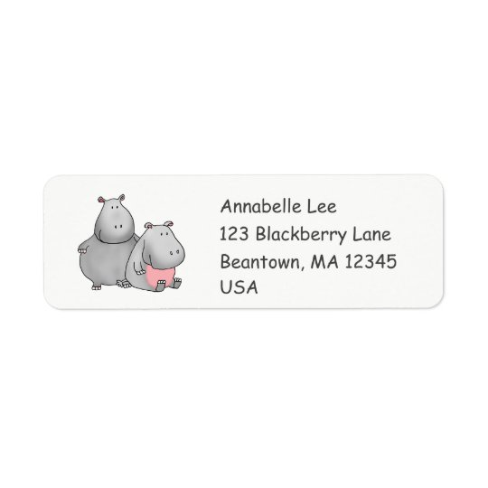Buddy Hippos Return Address Label