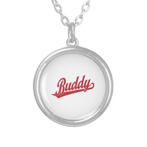 Buddy Script Logo in red Necklace