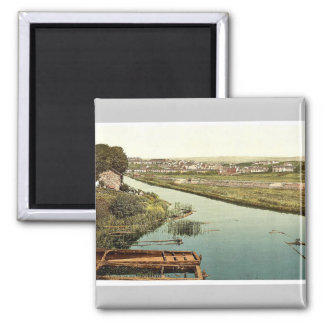 Bude, from the canal, Cornwall, England vintage Ph Square Magnet