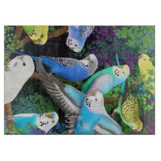 Budgerigar Parakeet Parrots in Ferns Cutting Board