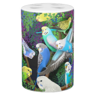 Budgerigar Parakeets in Ferns Bath Set