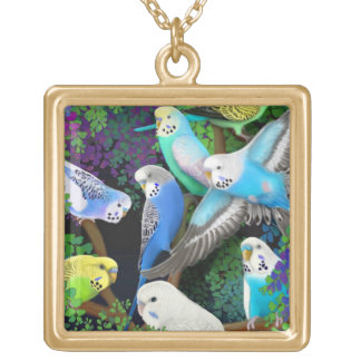Budgerigar Parakeets in Ferns Necklace