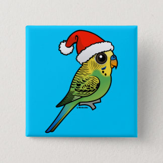 Budgerigar Santa Claus 15 Cm Square Badge