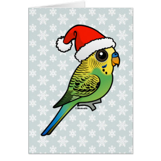 Budgerigar Santa Claus Card