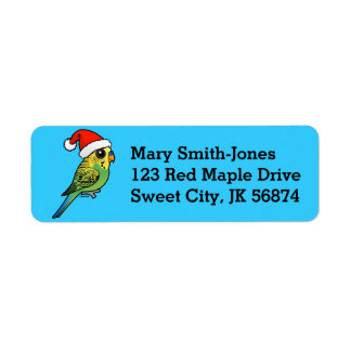 Budgerigar Santa Claus Return Address Label