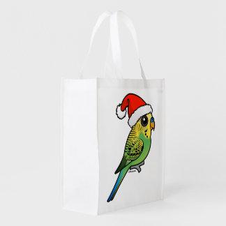 Budgerigar Santa Claus Reusable Grocery Bag