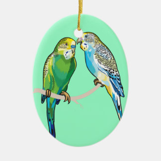 budgerigars ceramic ornament