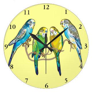 budgerigars wall clock