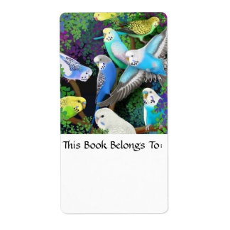 Budgerigars in Ferns Bookplate Shipping Label