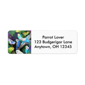 Budgerigars in Ferns Label Return Address Label